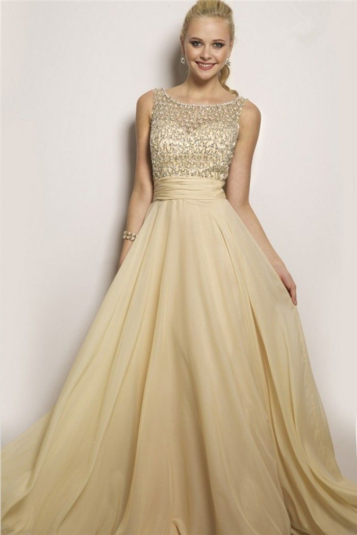 Flowing A Line Bateau Neck V Back Light Gold Chiffon Beaded Long ...