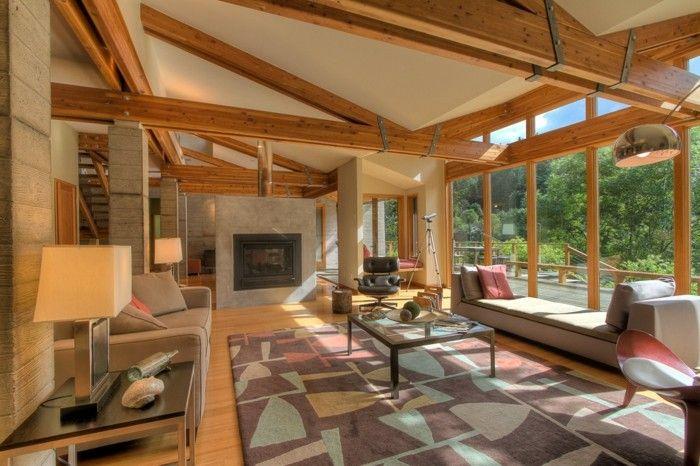 Wohnzimmer im Landhausstil - bunte Deko-Kissen und Teppich als - wohnzimmer neu gestalten