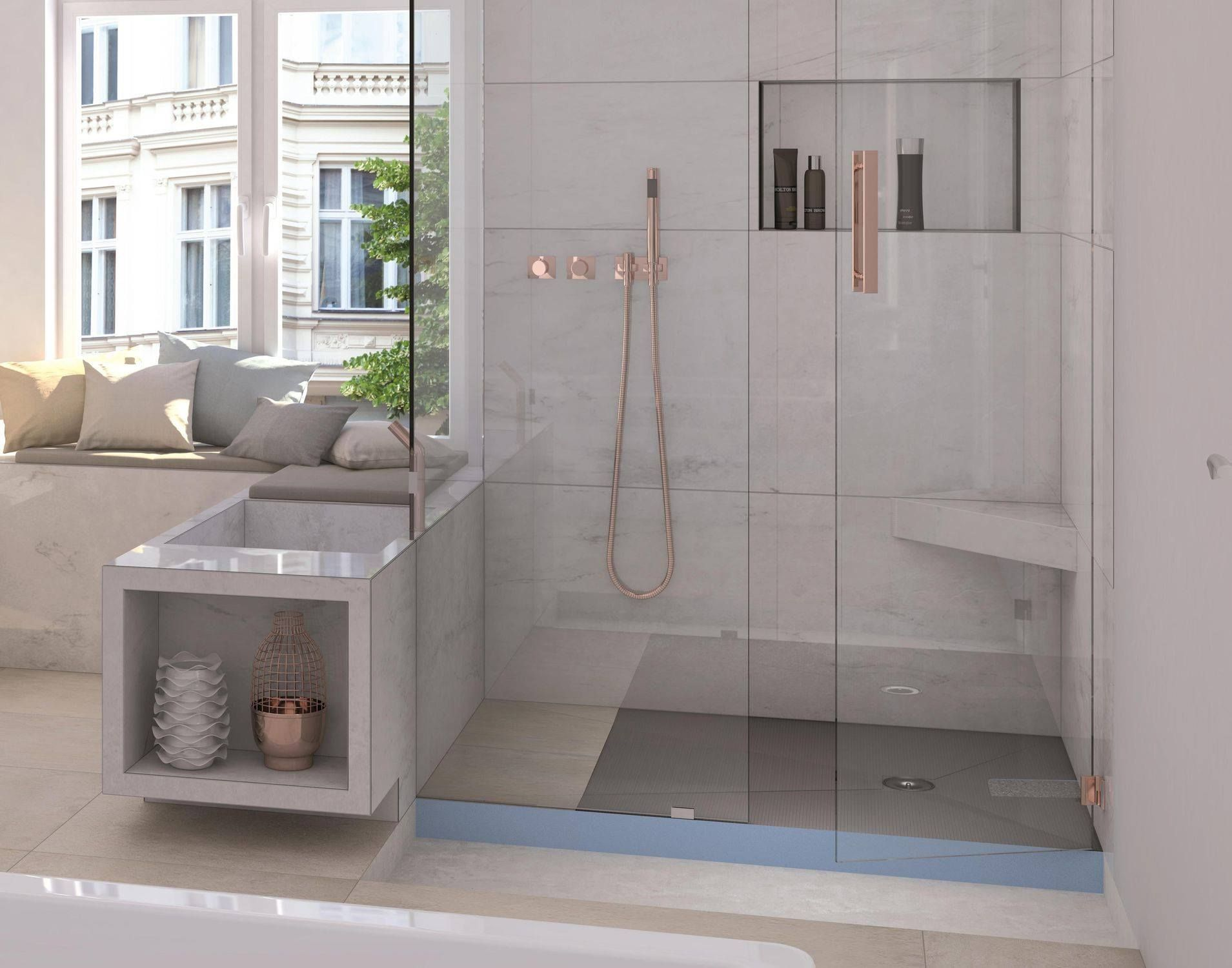 Awesome Wedi Ligno Floor Level Curbless Shower With Floating Corner Alphanode Cool Chair Designs And Ideas Alphanodeonline