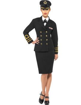 Womens Navy Pin Up Sailor Costume Ladies Fancy Dress Outfit UK 8//10//12//14//16