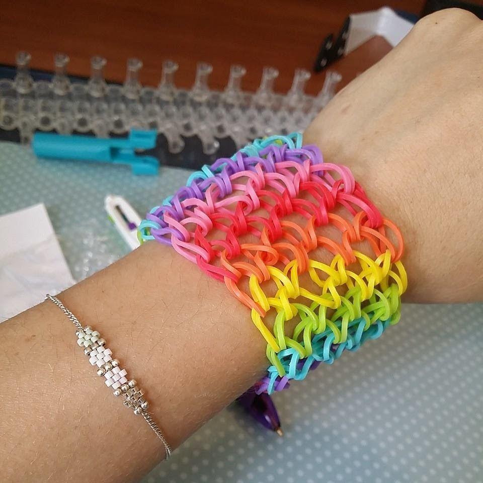 conception adroite professionnel meilleur site TUTOI ] bracelet élastique manchette rainbow | Loom | Tuto ...