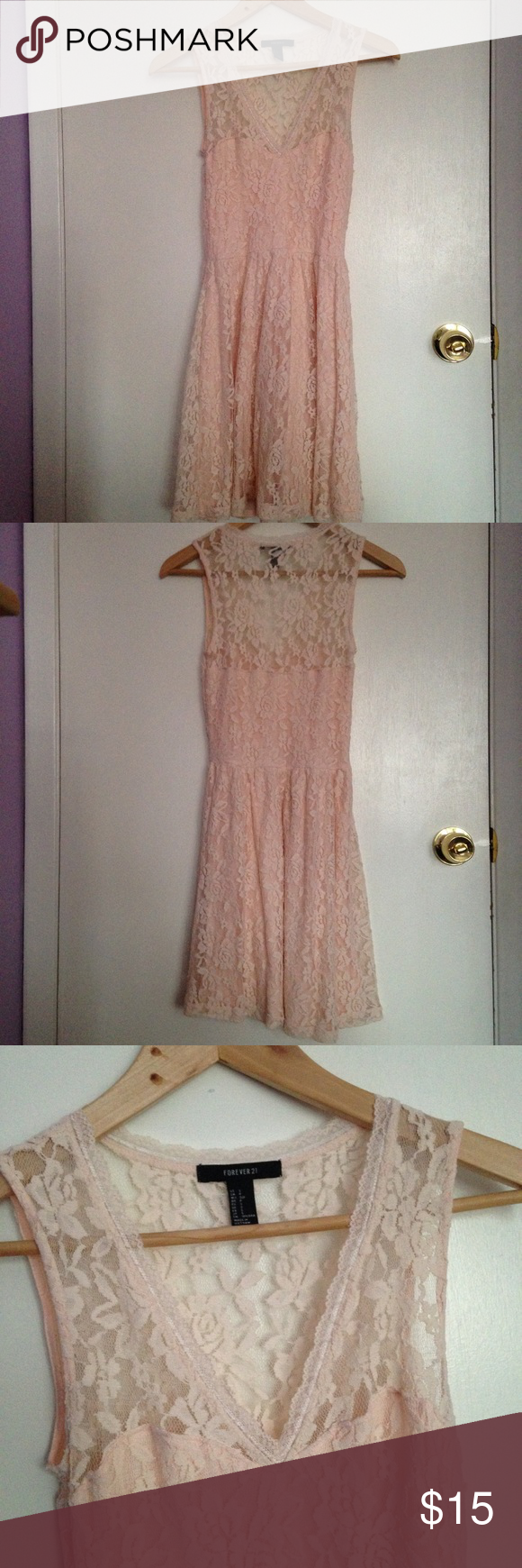 Lace Pink F21 Dress Feminine floral lace layer with solid light pink layer underneath. Only worn once in great condition! Forever 21 Dresses Midi