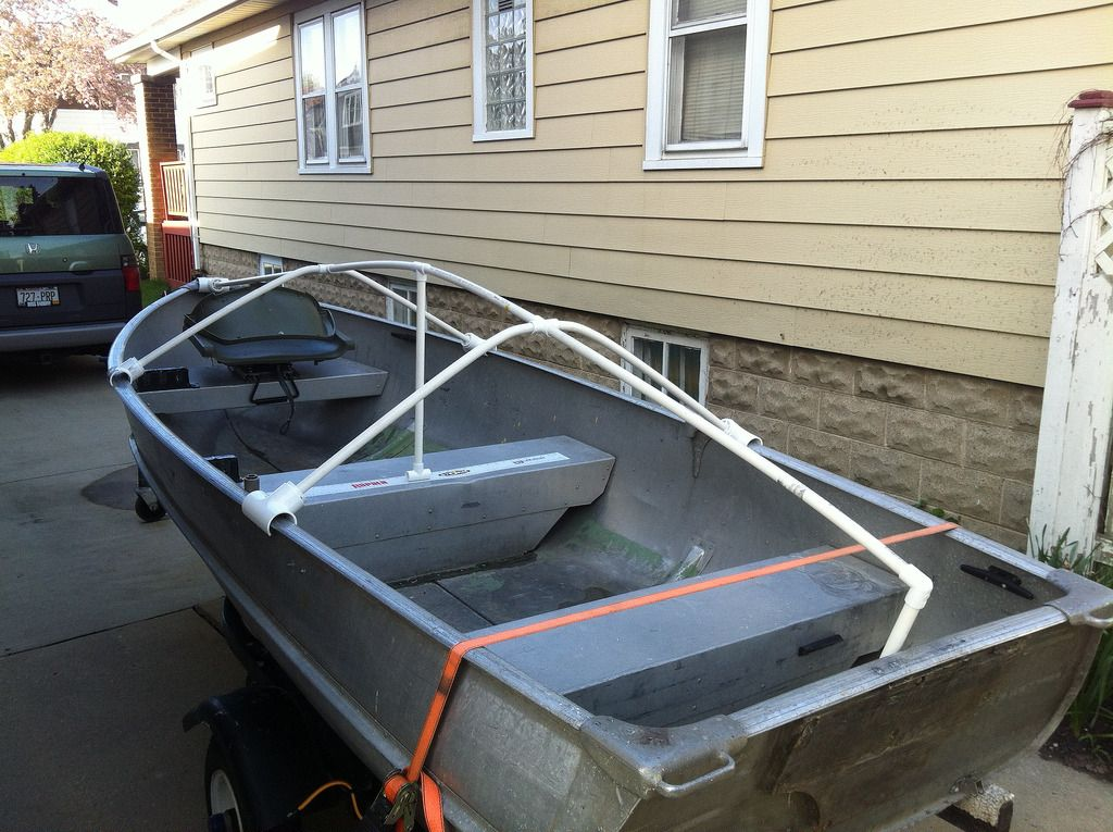 Diy boat cover or tarp support boat