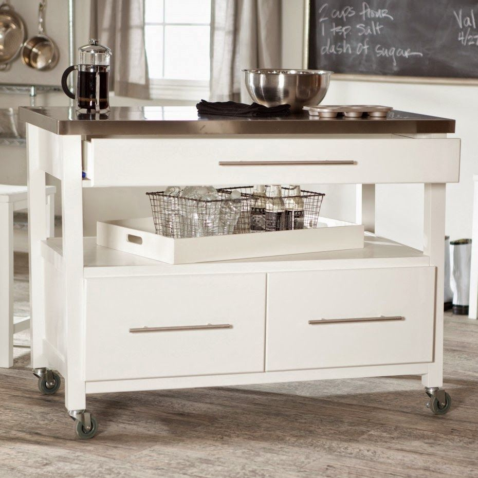 Real Simple Rolling Kitchen Island In White 300 Bed Bath: Love The Rustic Island Kitchen Cocinas Islas De Cocina