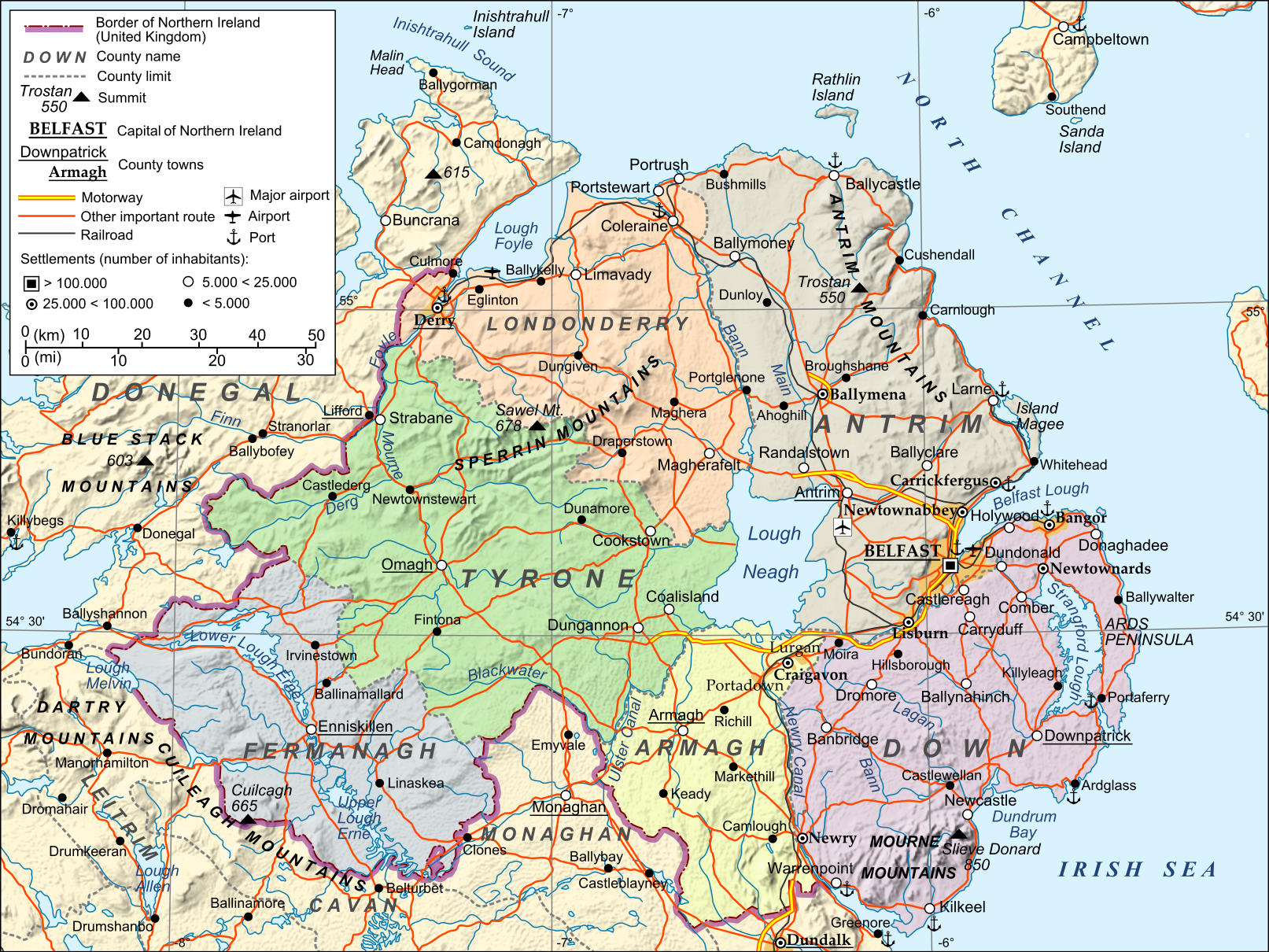 County Map Of Northern Ireland.Transportation And County Map Of Northern Ireland Tv