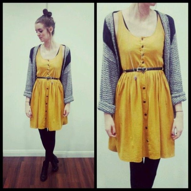 4af9f176f72a mustard yellow dress + grey cardigan + black tights | What to Wear ...