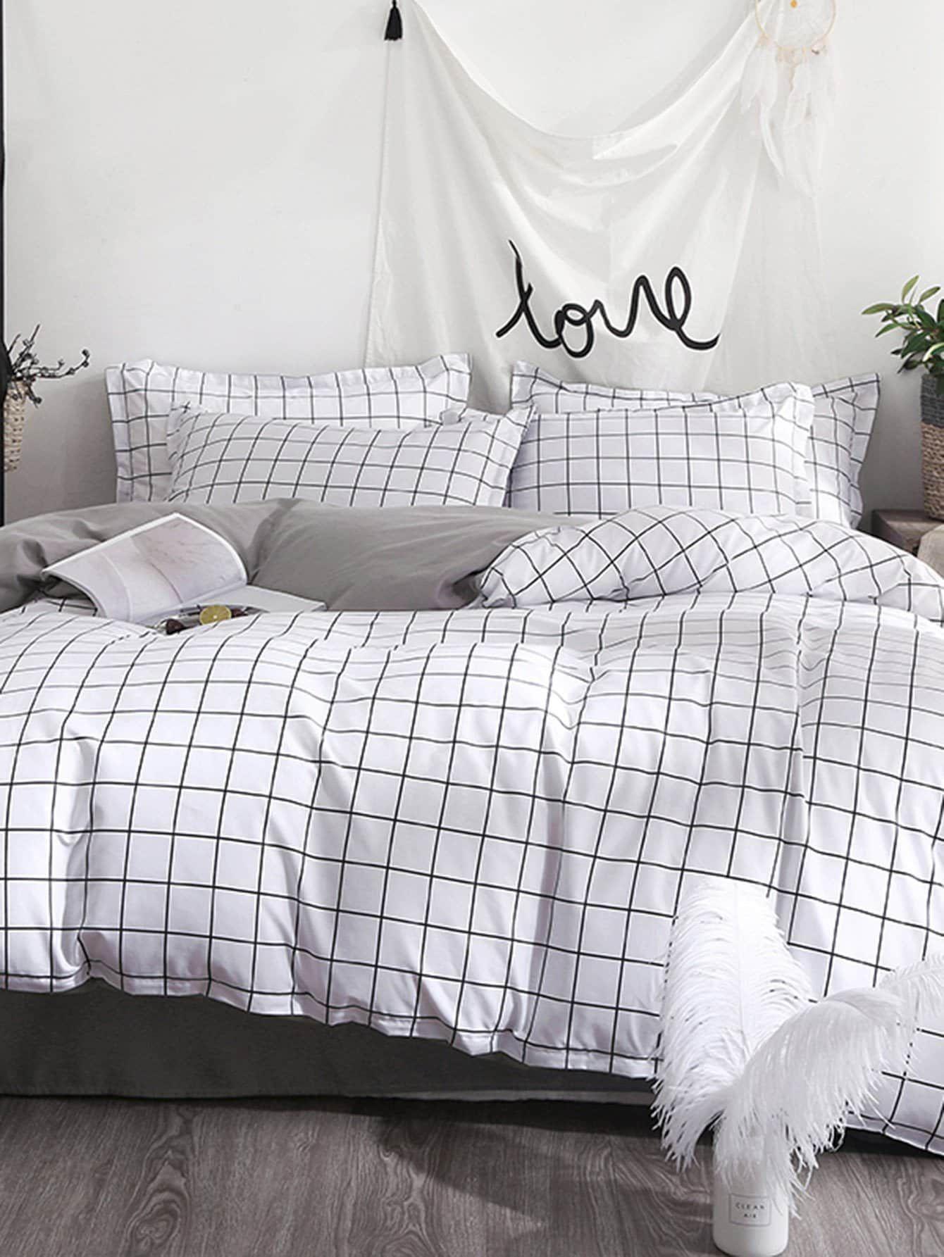 Allover Grid Print Sheet Set Luxusbettwasche Schlafzimmer