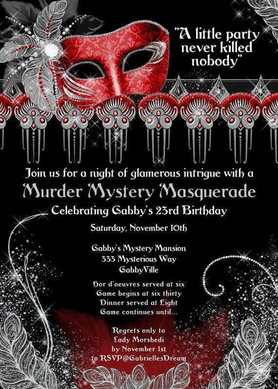 7af491fd8be1 Masquerade Party invitation Murder masquerade by GabriellesDreams More