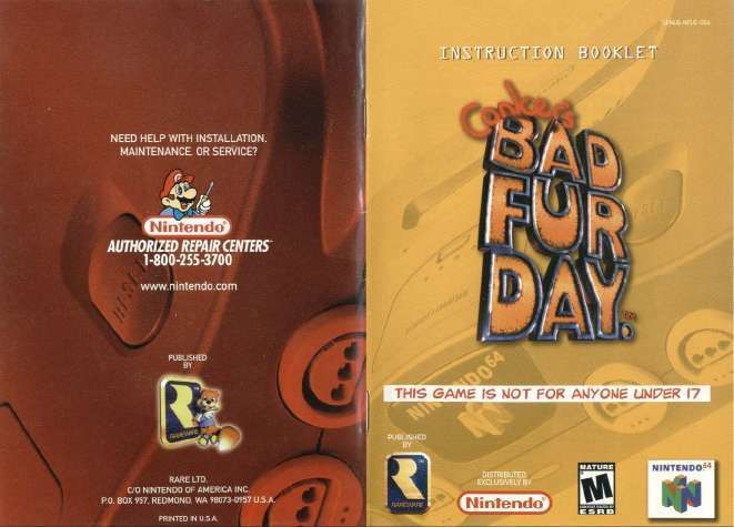 conker s bad fur day video game manuals nintendo instruction rh pinterest ch Video Game Manuals for Sale Video Game Instruction Booklets