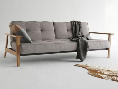 Canapé convertible en tissu avec pieds et accoudoirs en bois