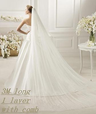 Hot 2 Layer White Wedding Veil Bridal Veils Satin Edge With Comb