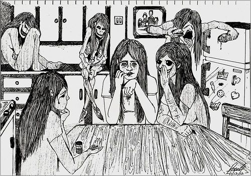 The Little Voices.  depression sitting at the left corner. ana sitting beside depression. binging-mia at the fridge. anxiety crying at left (down) corner. self-harm/cutting whispering to me, persuading me.