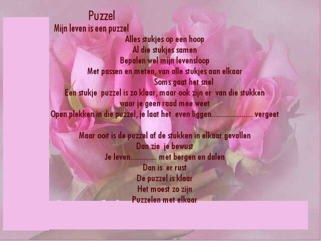 Mijn Leven Is Als Een Puzzel Gedichten Citaten En Spreuken