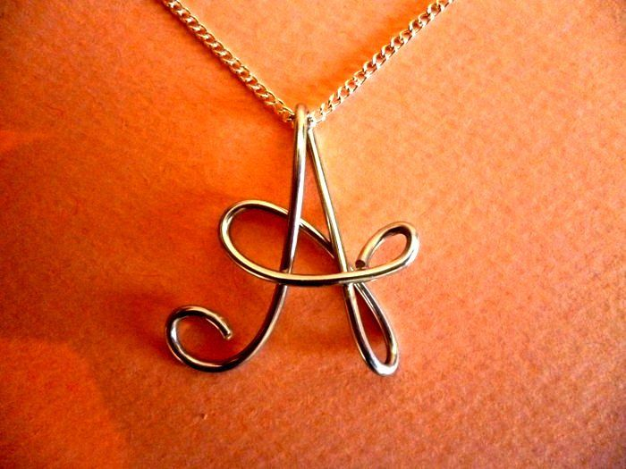 Custom Initials Necklace, Silver Wire Charm, Personalized Wire Name ...