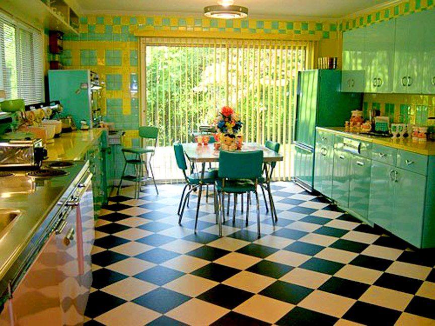 die besten 25 50er jahre stil k chen ideen auf pinterest. Black Bedroom Furniture Sets. Home Design Ideas