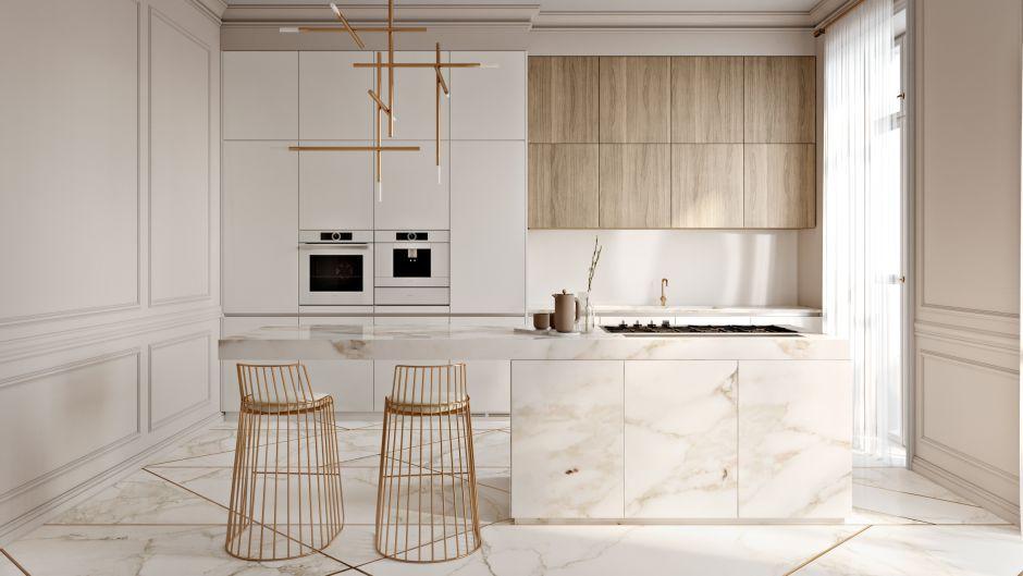 Zlote Dodatki Oraz Marmur W Kuchni W Stylu Minimalistycznym Modern Kitchen Design Elegant Kitchens Modern Kitchen