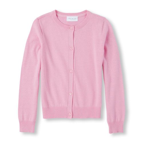 25f91c5f Girls Uniform Long Sleeve Button-Down Cardigan Sweater - Pink - The  Children's Place