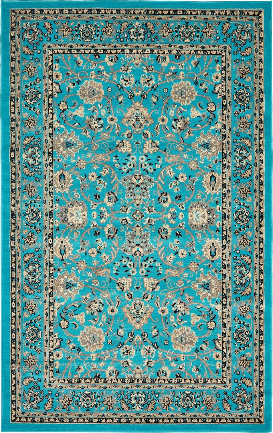 Turquoise 5 X 8 Kashan Design Rug Area Rugs