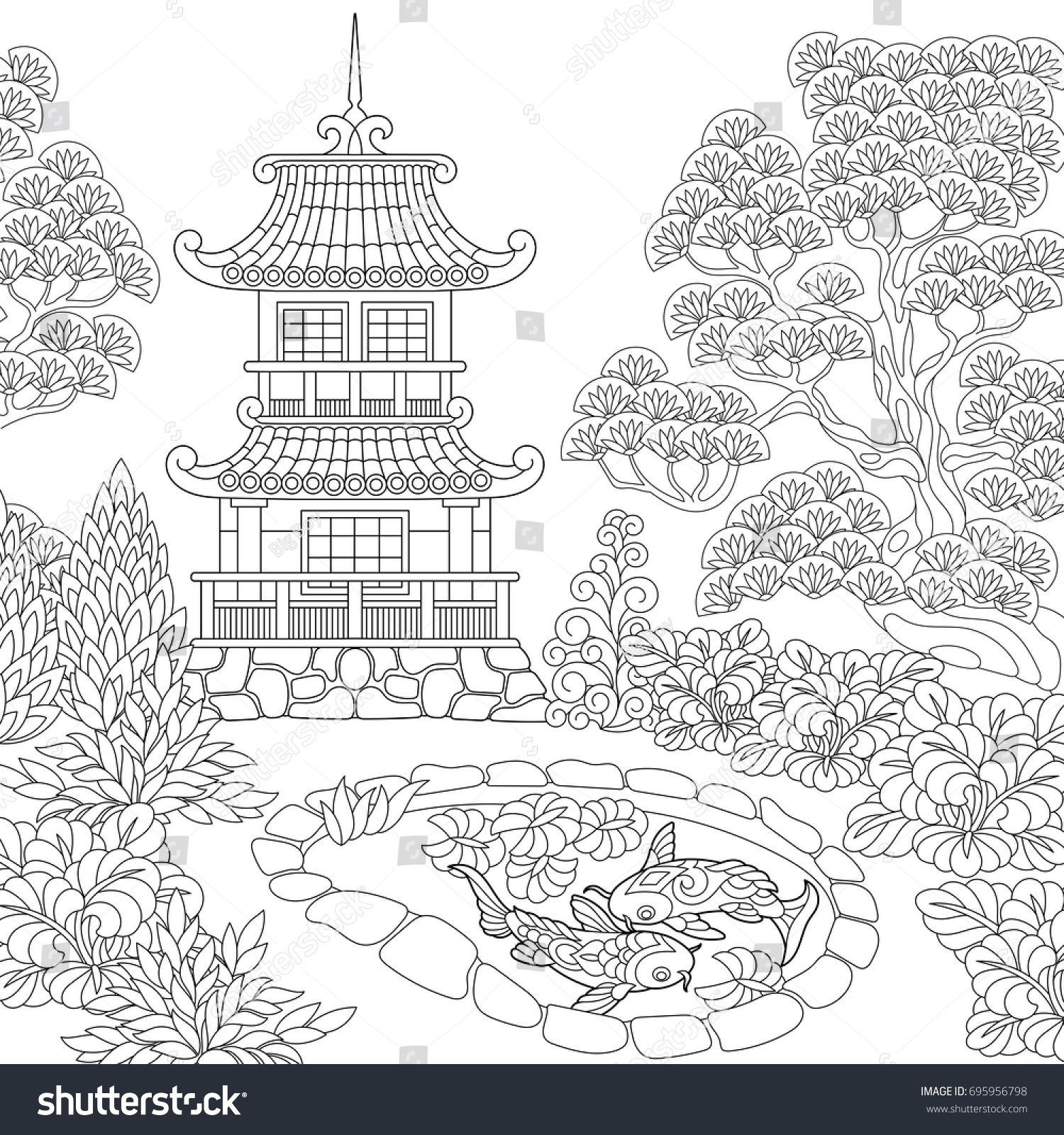 Japanese Coloring Book Pages. Coloring page of oriental temple  Japanese or chinese pagoda tower Freehand sketch drawing for