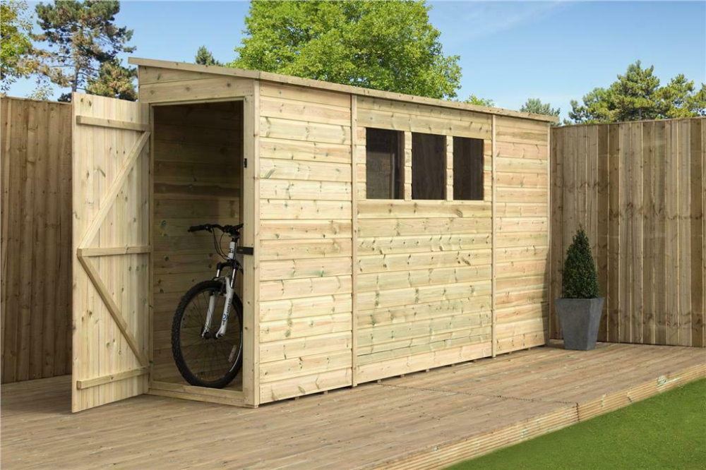 Reversed Pent Shed 9x3 10x3 12x3 14x3 Tanalised T G 3 Windows Door Left End Ebay In 2020 Shed Windows Doors Garden Storage Shed