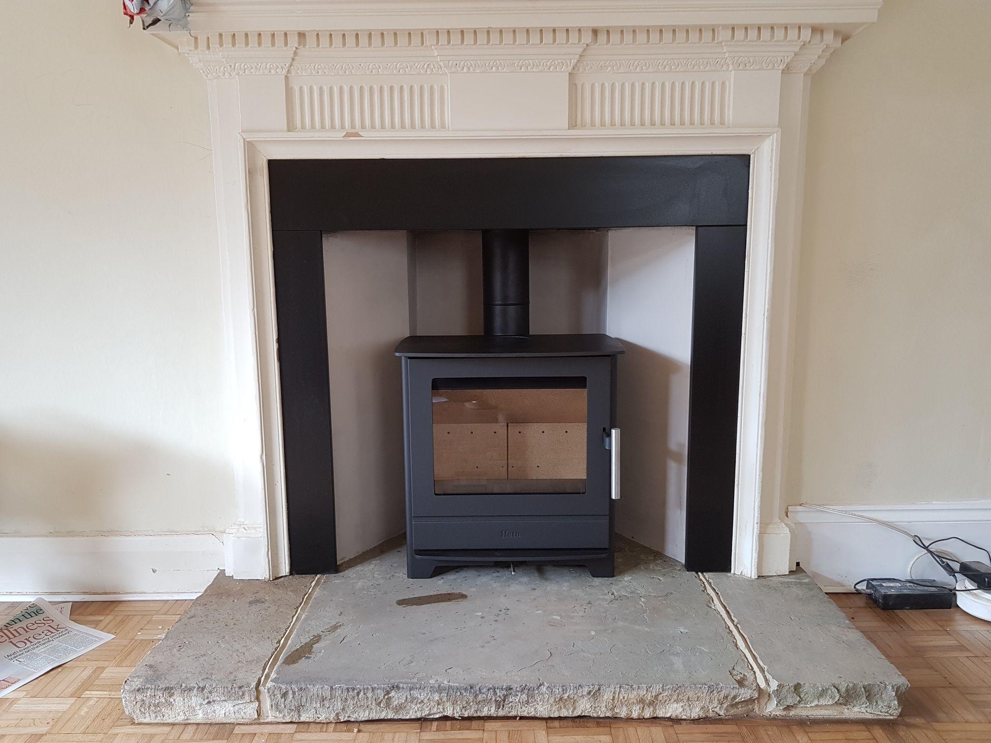 Heta Inspire 45 With Honed Granite Slip Set Client S Own Surround And Hearth Granite Hearth Wood Burning Stove Honed Granite