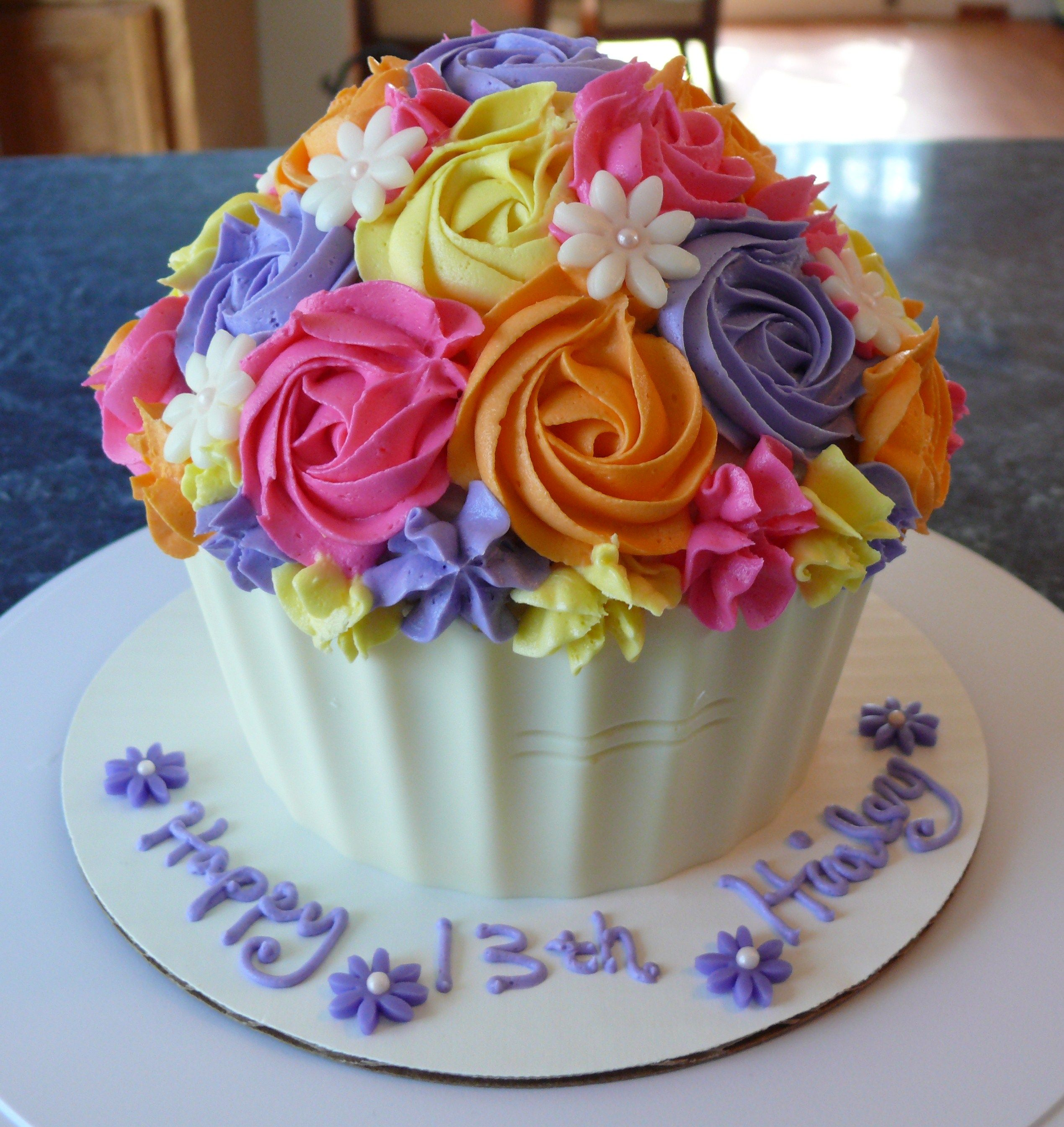 Multi color rose swirl giant cupcake Delizious Smash Cakes and