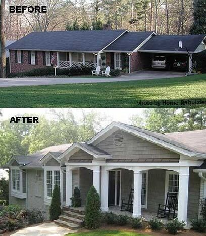 Before And After 7 Sensational Front Porch Additions Ranch House Remodel Home Exterior Makeover Porch Remodel