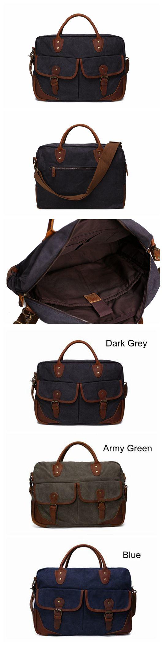 Waxed Canvas Leather Messenger Bag, Laptop Briefcase, Shoulder Bag YD2169
