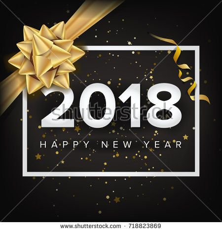 Happy New Year Background  Vector Realistic Bow Christmas