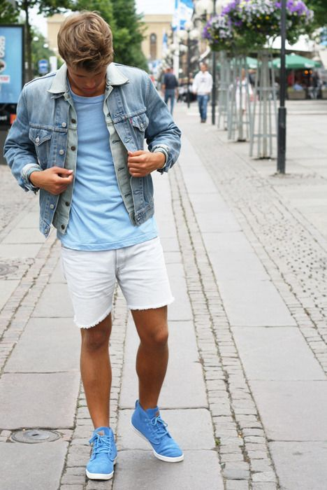 Men's Light Blue Denim Jacket, Light Blue Crew-neck T-shirt, White ...