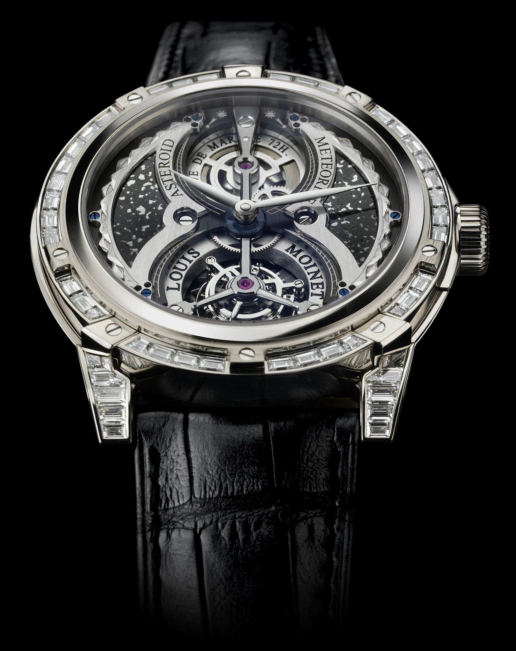 Tourbillon Asteroid with white gold case. The Tourbillon Asteroid features a rotating tourbillon cage and its dial presents a hand-crafted fragment of the mysterious Itqiy meteorite which formed close to the Sun thousands of years ago before making its way to Earth. For more information, please visit: http://www.louismoinet.com/collection-tourbillon-asteroid-p29.php