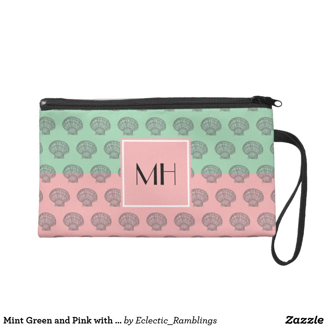 Mint Green and Pink with Seashells Monogrammed