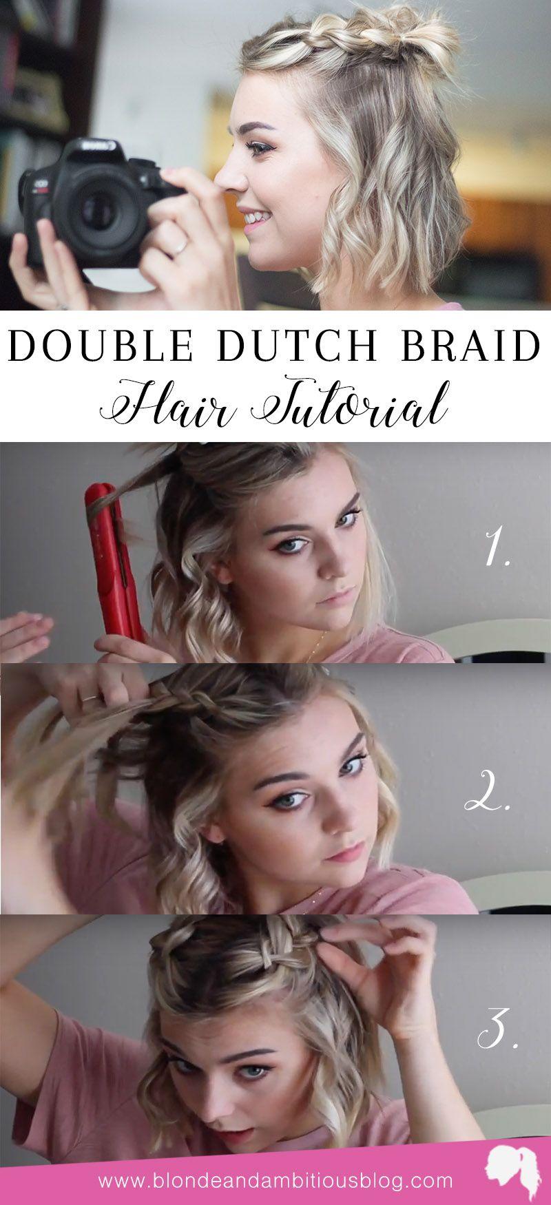 DOUBLE DUTCH BRAID HAIR TUTORIAL | braid hairstyles, braid styles, styles for short hair, short hairstyles, half up do, half up half down hair, half up half down hair easy