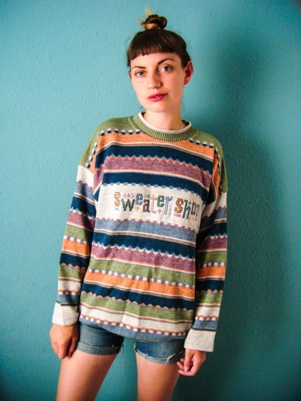 7381c5f34b09 Details about Multi-coloured  The Sweater Shop  Jumper    Retro ...