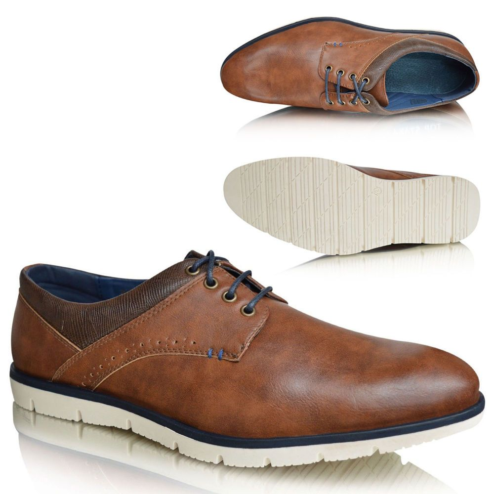 Mens Black Faux Leather Round Smart Ankle Casual Formal Lace Up Boots Shoes 6-11