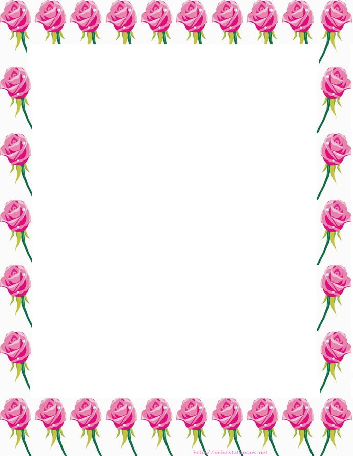 Free Roses Stationery, Free Printable Roses Stationary Letterhead, Free  Roses Border Paper, Free  Bordered Paper Printable