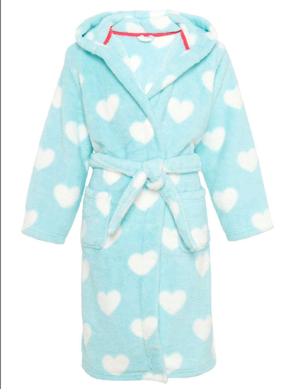 Tuquoise girls duster/bathrobe with white hearts from Marks and Spencer