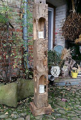 Windlicht Laterne Holzbalken Led Stehlampe Skulptur Xl Alt