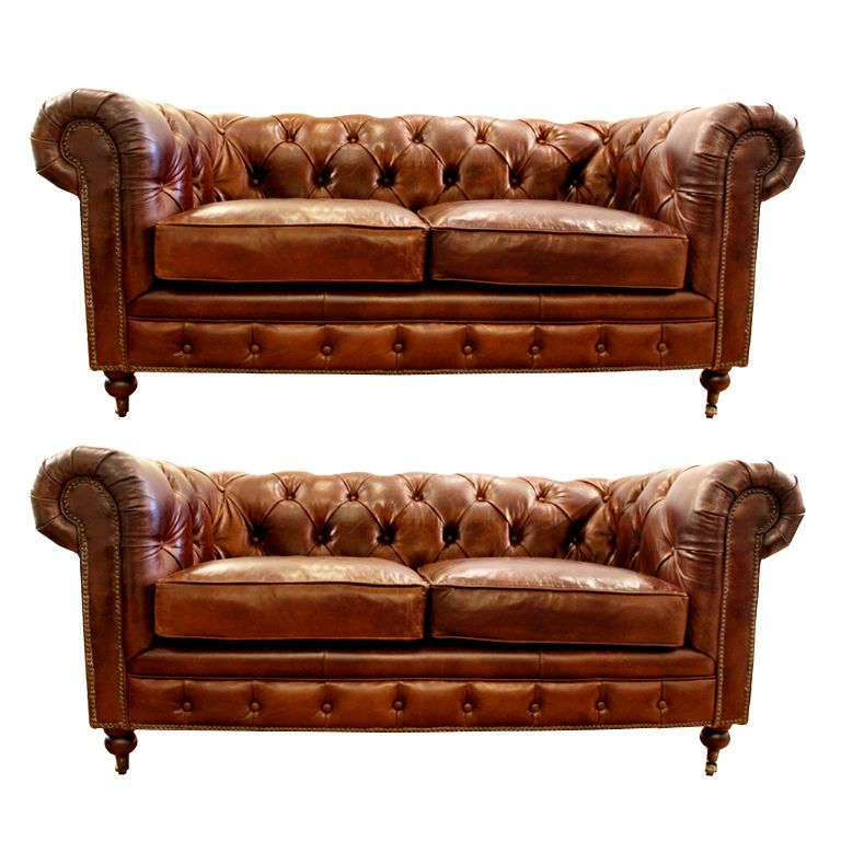 Small Leather Chesterfield Sofa Pair Love The Smoke Lounge Look