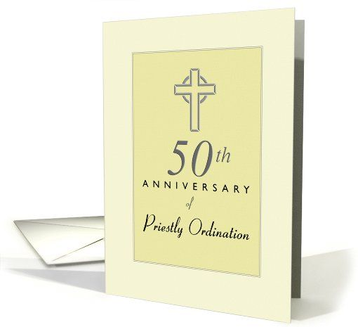 Priest 50th anniversary of ordination yellow with cross card stopboris
