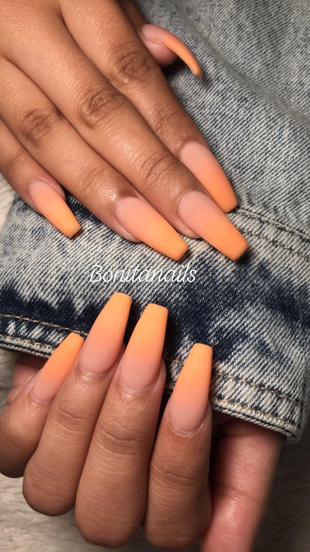 Matte Orange Nails Coffin Set Orange Nails Orange Ombre Nails Nails Tumblr