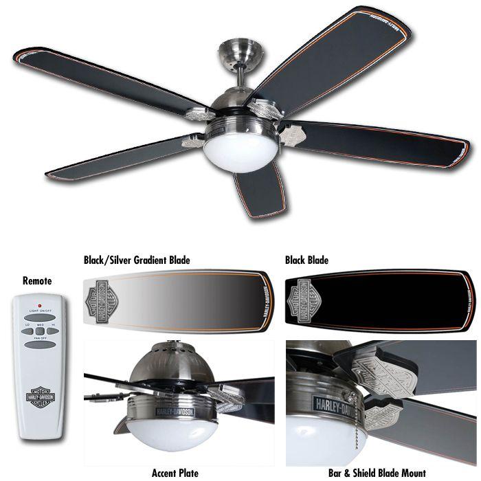Ceiling Fan Light Remote Part - 34: HARLEY DAVIDSON Motorcycle Ceiling Fan / Light With REMOTE CONTROL  HDL-17105 NEW