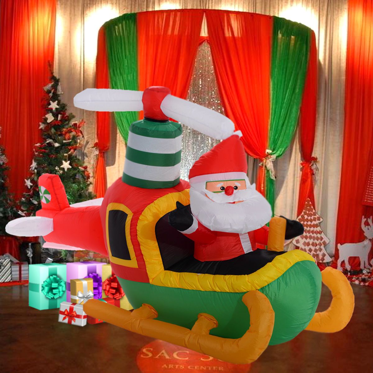 outdoor large inflatable christmas decoration santa claus pilot plane light le view