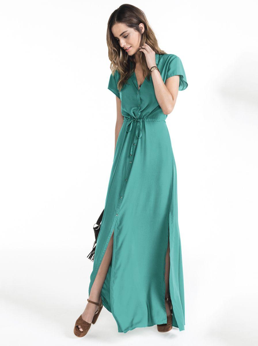 Vestido longo fenda verde