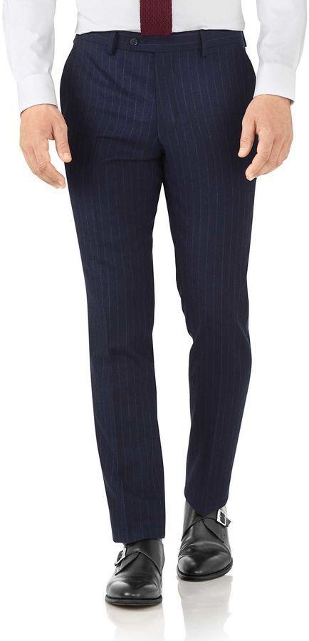 6c6e3b63 Charles Tyrwhitt Navy Stripe Slim Fit Flannel Business Suit Wool Pants Size  W30 L38
