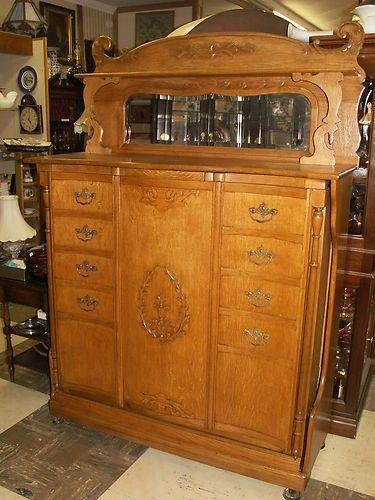 1890 S Antique Golden Oak Murphy Bed Guest Room Office