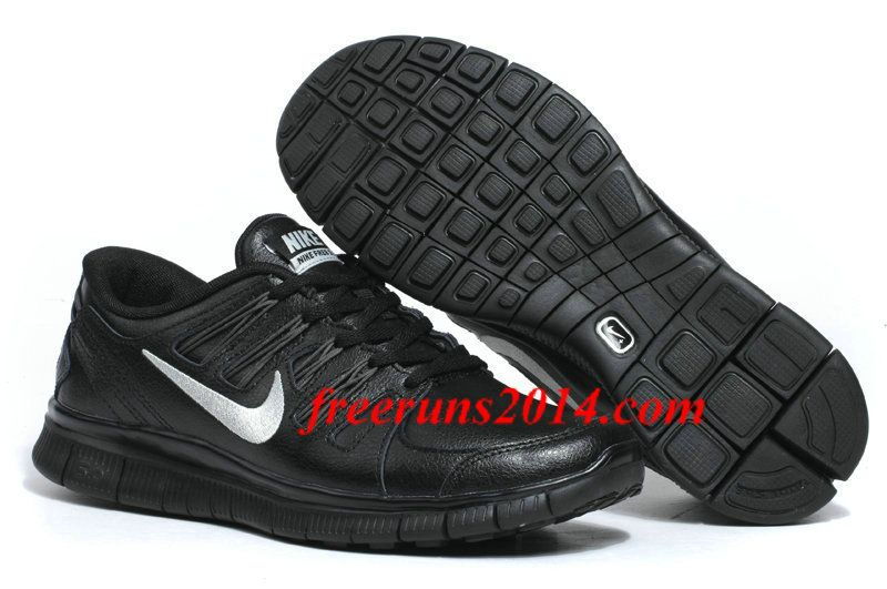 hot sale best value hot products Mens Nike Free 5.0 Leather Black Silver Running Shoes #Black ...