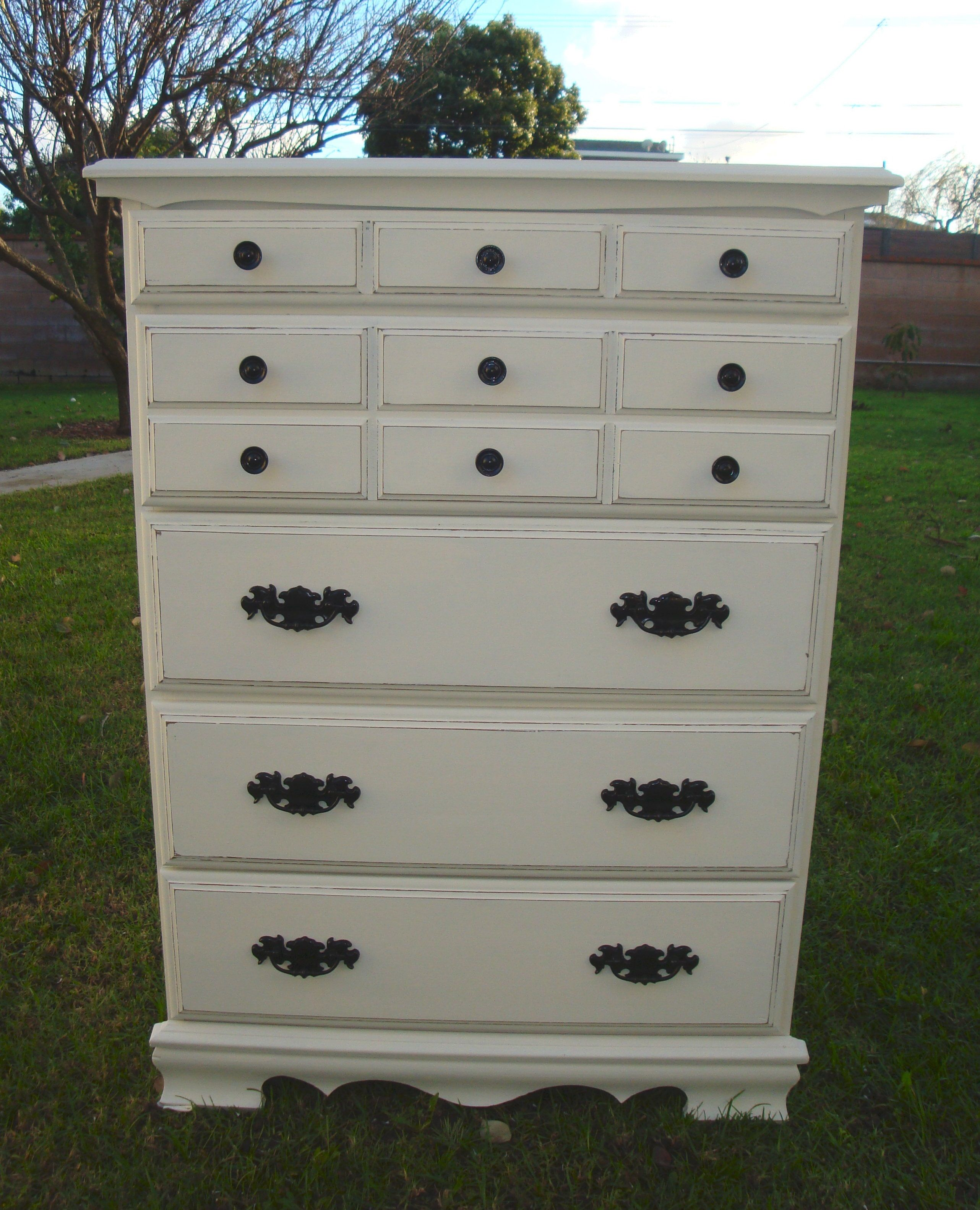 and consignment painted l drawer drawers trompe oeil chest black white p loeil