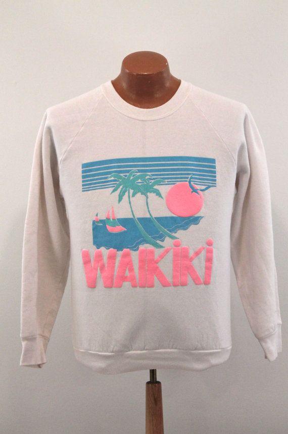 Hawaii Sweatshirt : Vintage Sunset Waikiki Neon Graphic