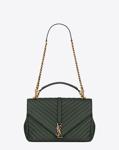 b59c54c81976 SAINT LAURENT Classic Large Monogram Saint Laurent Collège Bag In Dark Green  Matelassé Leather.  saintlaurent  bags  shoulder bags  hand bags  leather  ...